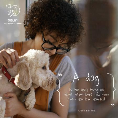 Modèle de visuel Dog Quote with Cute Puppy with Owner - Animated Post