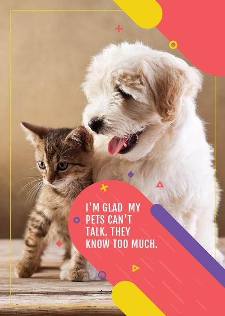 Ontwerpsjabloon van Invitation van Pets clinic ad with Cute Dog and Cat