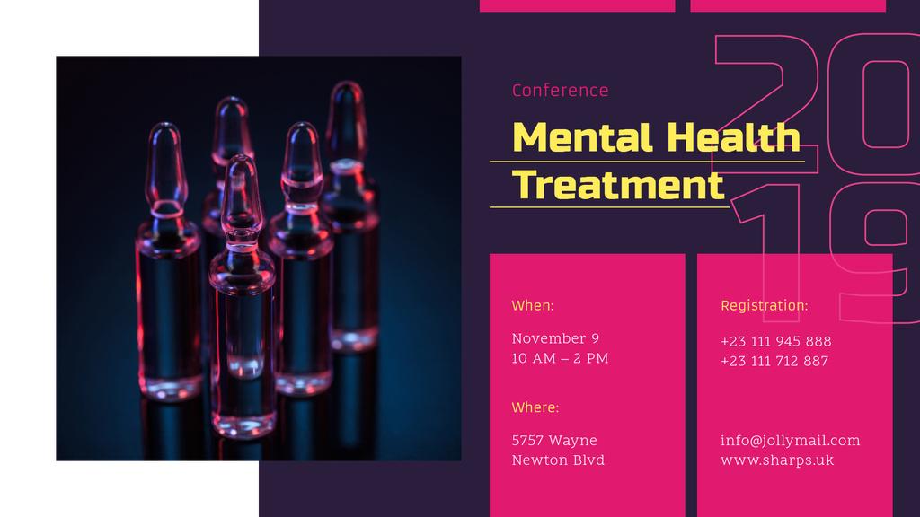 Plantilla de diseño de Healthcare Conference announcement Glass Ampoules with Medicine FB event cover