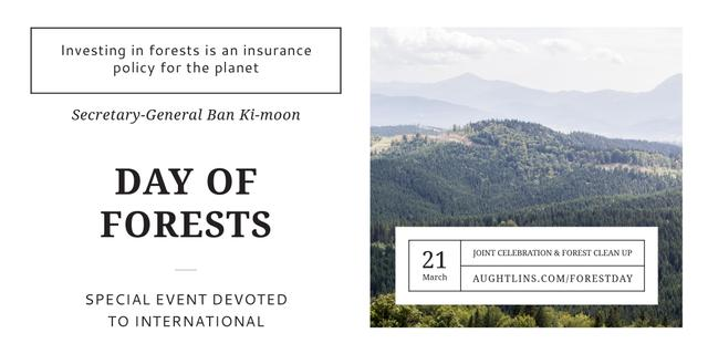International Day of Forests Event with Scenic Mountains Twitter Design Template