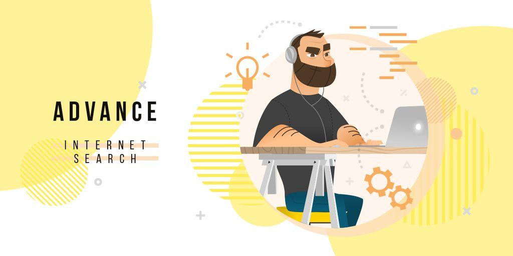 Hipster man working on laptop — Создать дизайн