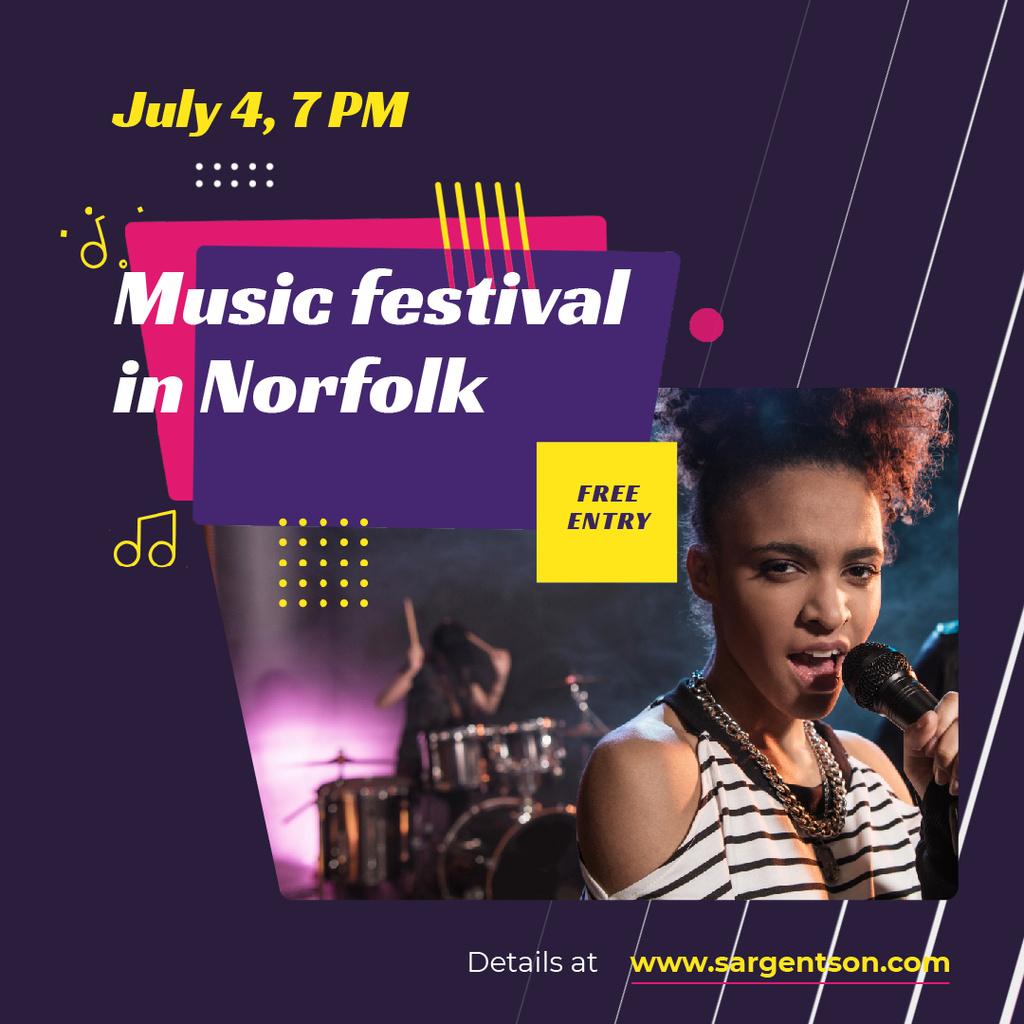 Festival Announcement with Woman Singing by Microphone — ein Design erstellen