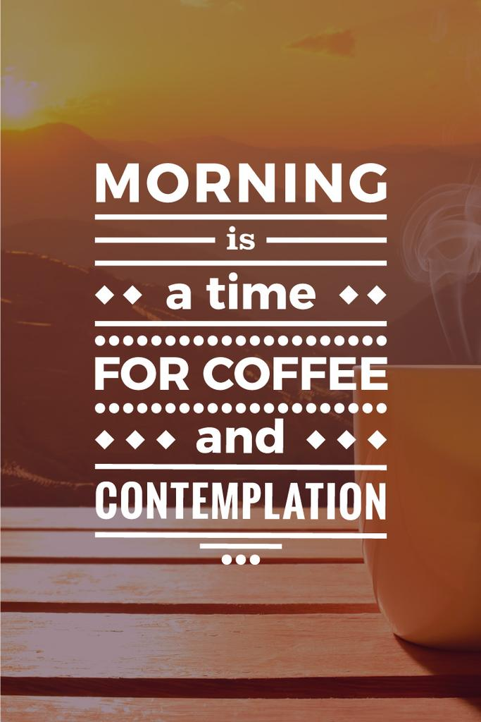Inspirational quote with cup of coffee on wooden table — Створити дизайн