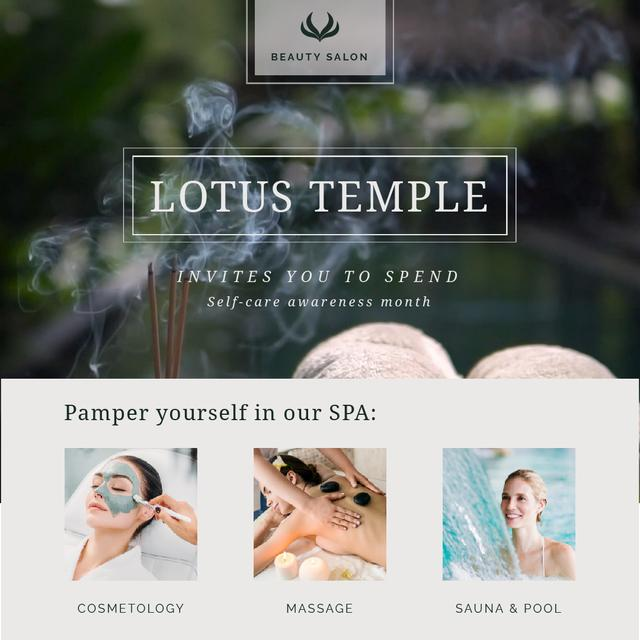 Template di design Self-Care Awareness Month with Woman Relaxing at Spa Animated Post