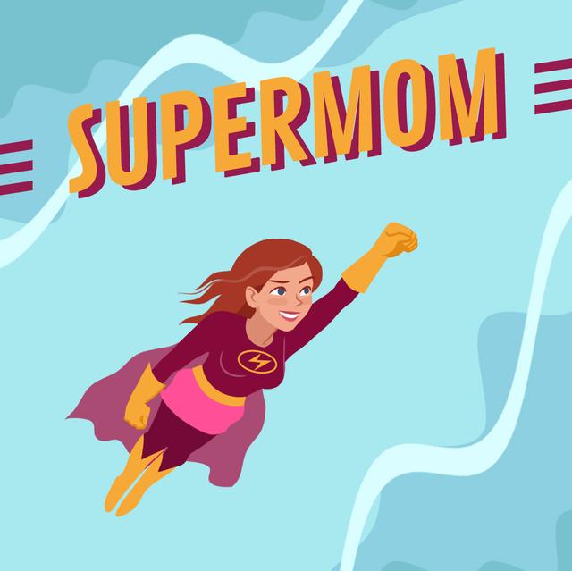 Superwoman Flying in the Sky Animated Post Modelo de Design