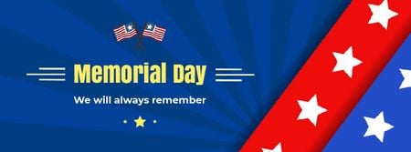 USA Memorial Day greeting with Flag Facebook Video cover Design Template
