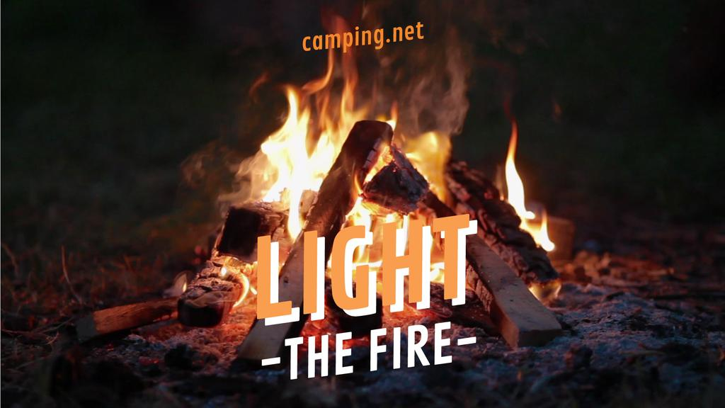 Camping Invitation Burning Fire — Crea un design
