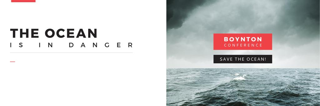 Ecology Conference Invitation Stormy Sea Waves — Maak een ontwerp