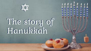 Happy Hanukkah Greeting Menorah and Buns