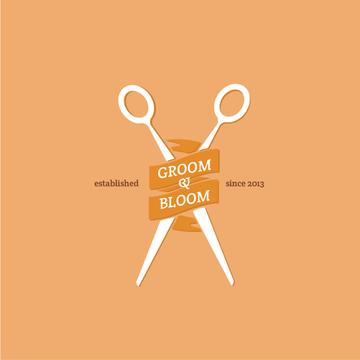 Hair Studio Ad Scissors in Orange | Logo Template