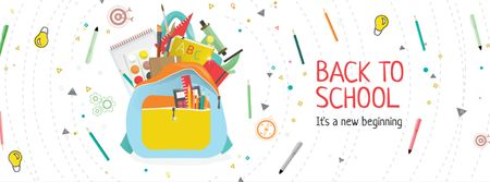Szablon projektu Back to School with Stationary in backpack Facebook cover