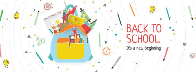 Back to School with Stationary in backpack Facebook cover – шаблон для дизайну