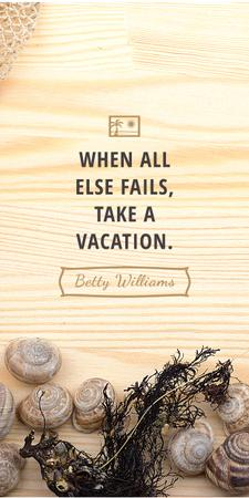 Designvorlage Travel inspiration with Shells on wooden background für Graphic