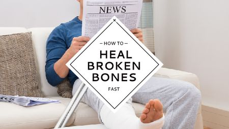 Man with Broken Leg reading Newspaper Title – шаблон для дизайна