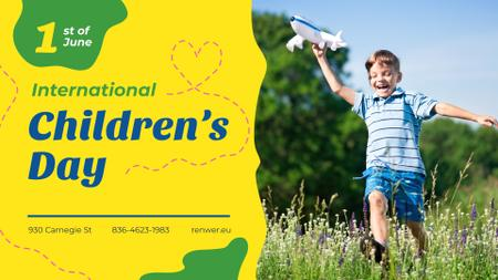 Ontwerpsjabloon van FB event cover van Children's Day Greeting Boy Playing with Toy Plane