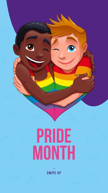 Plantilla de diseño de Pride Month with LGBT couple hugging Instagram Story