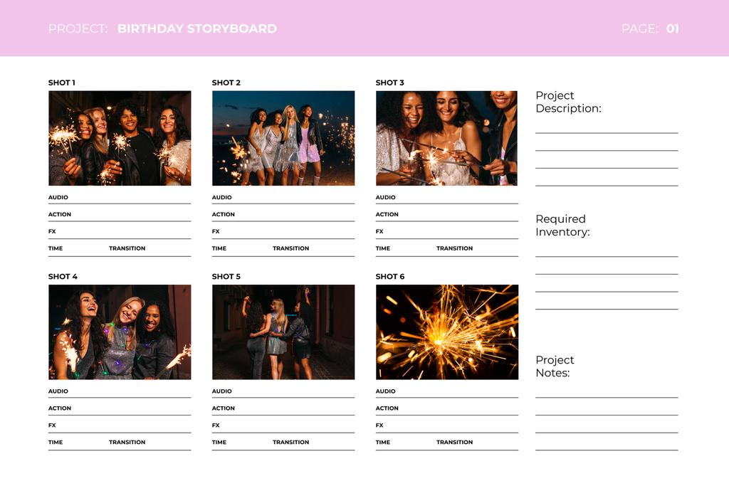 Birthday Celebration with People holding Sparklers Storyboard Design Template