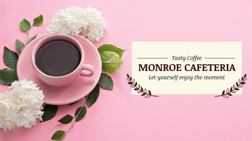 Cafeteria Advertisement with Coffee Cup in Pink — ein Design erstellen