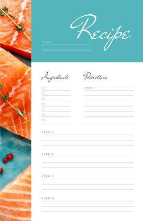 Plantilla de diseño de Raw Salmon pieces with spices Recipe Card