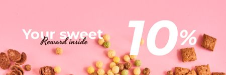 Modèle de visuel Cereals Offer in pink - Email header