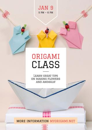Plantilla de diseño de Origami class Invitation with Paper Animals Poster