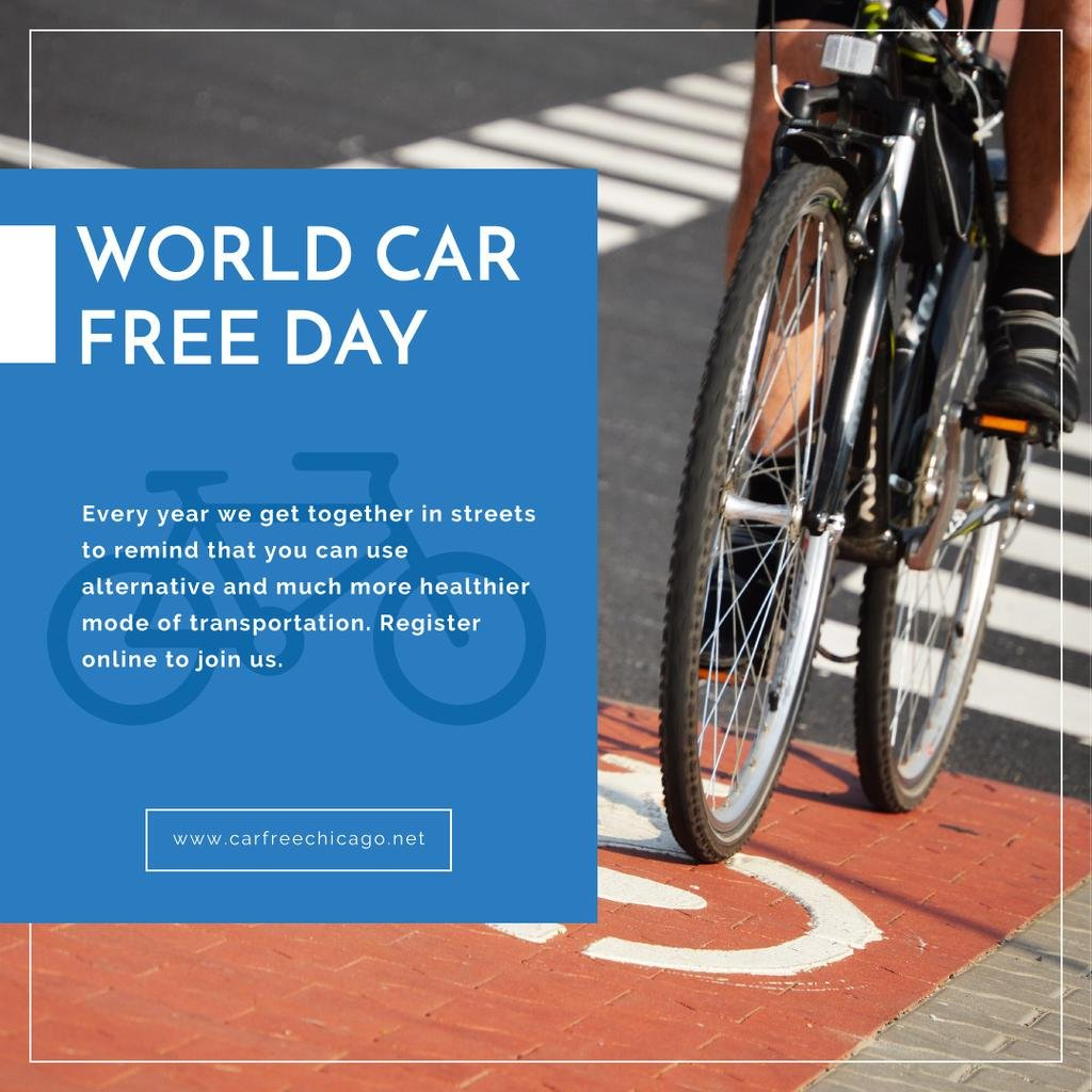 Man riding bicycle on World Car Free Day — Modelo de projeto