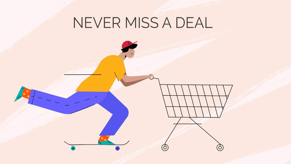 Man pushing shopping cart — Create a Design