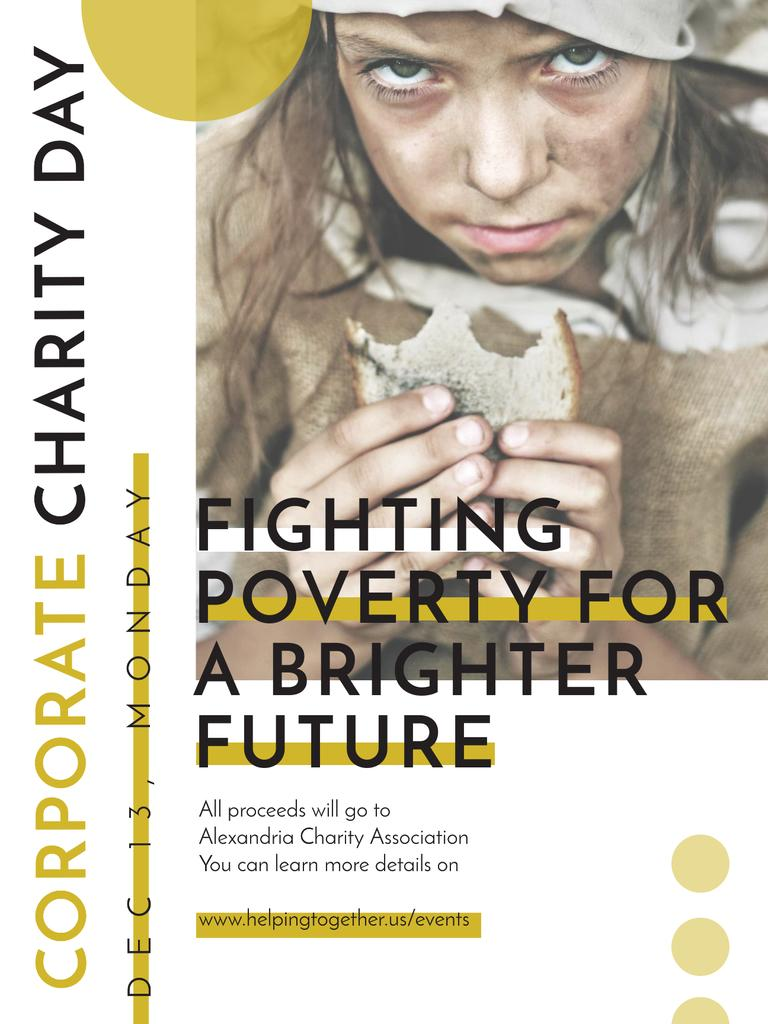 Poverty quote with child on Corporate Charity Day Poster US – шаблон для дизайна