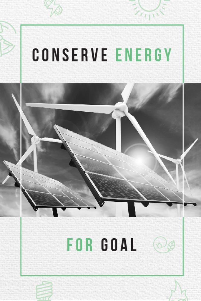 Green Energy Wind Turbines and Solar Panels | Tumblr Graphics Template — Crea un design
