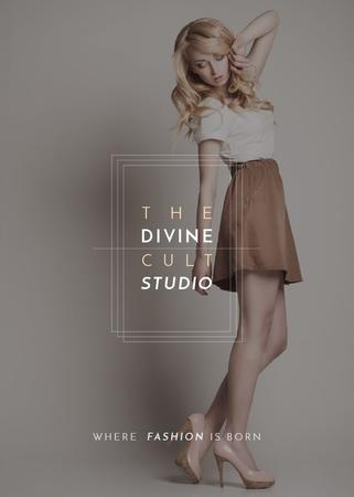 Fashion Studio Ad Blonde Woman in Casual Clothes Invitation – шаблон для дизайна