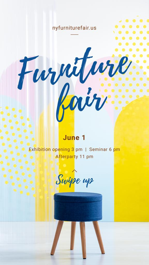 Furniture Expo Annoucement with Blue minimalistic chair — Crear un diseño