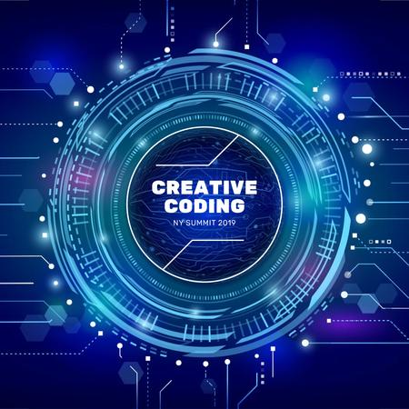 Template di design Glowing Blue cyber circle Animated Post