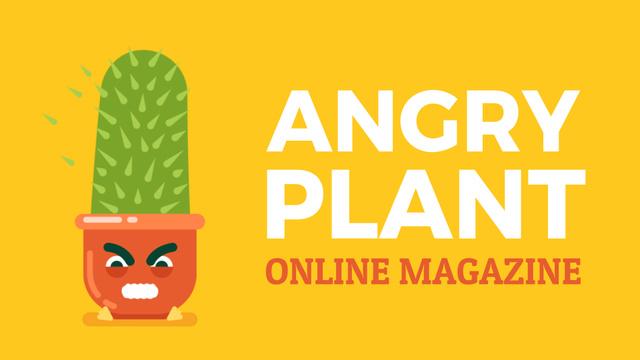Modèle de visuel Angry Cactus Cartoon Character - Full HD video