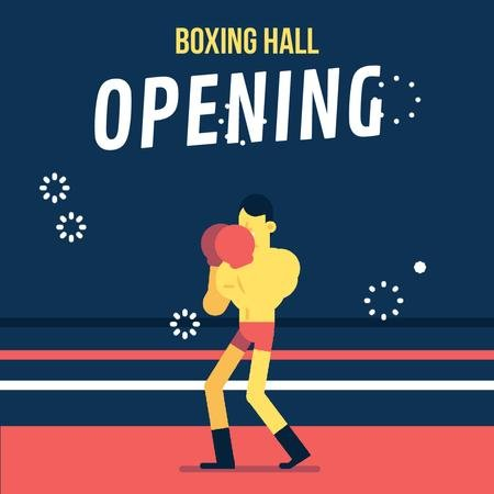 Man Boxing on Ring Animated Post Modelo de Design
