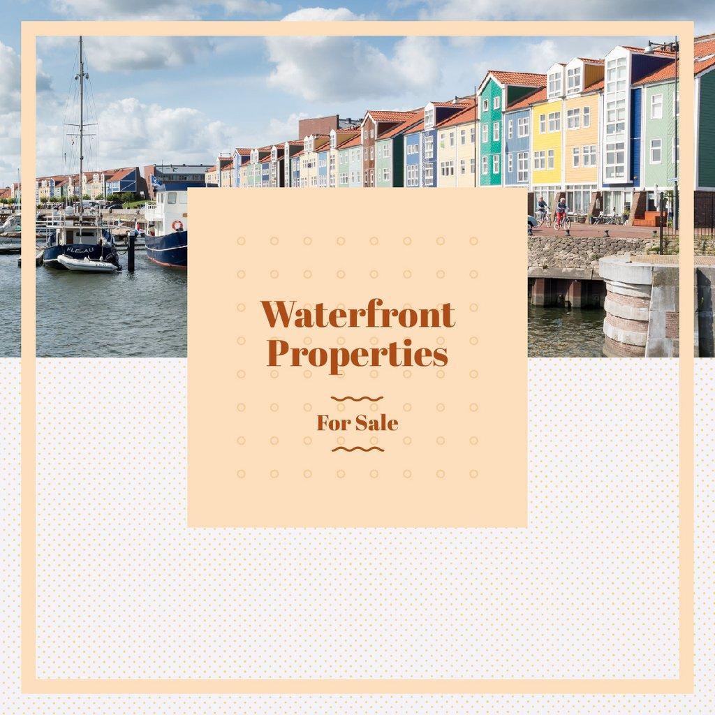 Real Estate Ad with Houses at sea coastline — Crear un diseño