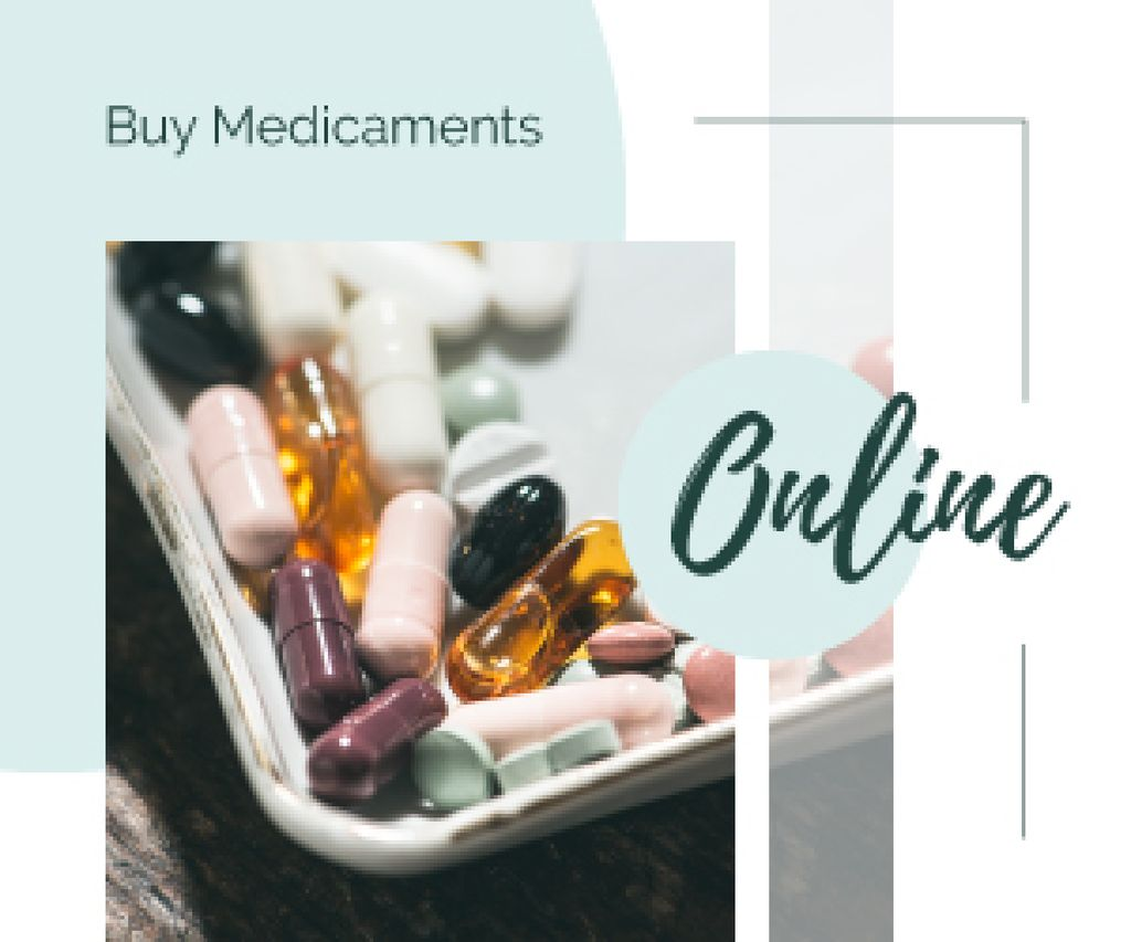 Online Drugstore Ad Assorted Pills and Capsules | Medium Rectangle Template — Create a Design