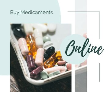 Online Drugstore Ad Assorted Pills and Capsules