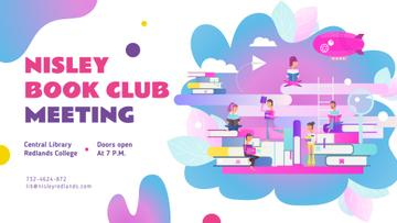 Book Club Event People Reading Books | Facebook Event Cover Template