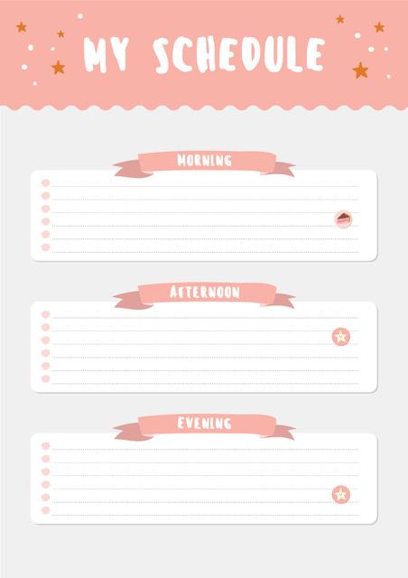 Pink Schedule Planner with Stars Schedule Plannerデザインテンプレート