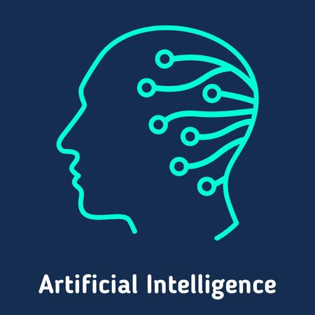 Artificial intelligence icon Animated Post Modelo de Design
