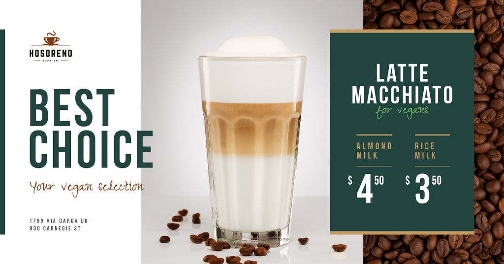 Coffee Shop Promotion Latte in Glass — Создать дизайн