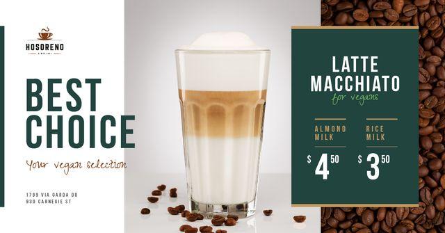 Template di design Coffee Shop Promotion Latte in Glass Facebook AD