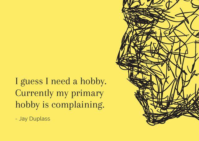 Ontwerpsjabloon van Postcard van Hobby Quote with creative Portrait