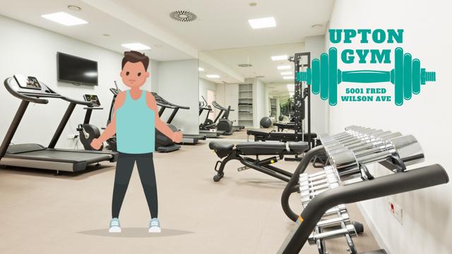Man exercising in gym Full HD video Modelo de Design