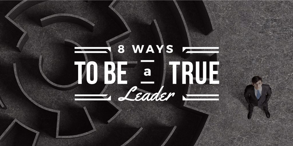8 ways to be a true leader banner with maze and businessman Image Modelo de Design