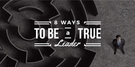Template di design 8 ways to be a true leader banner with maze and businessman Image