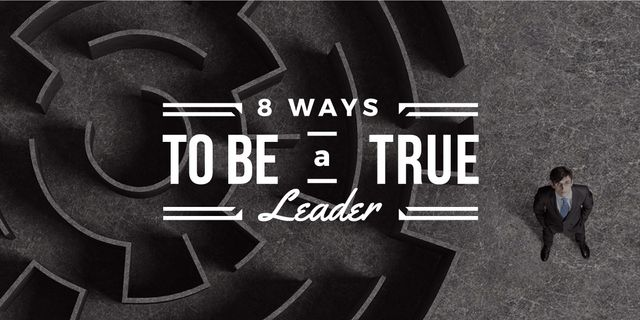 8 ways to be a true leader banner with maze and businessman Image Design Template