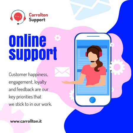 Online Customers Support Consultant on Phone Screen Animated Post Modelo de Design
