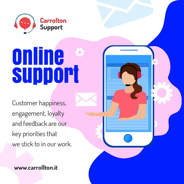Online Customers Support Consultant on Phone Screen Animated Postデザインテンプレート
