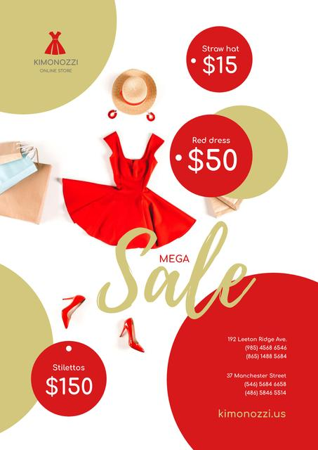 Clothes Sale with Fashion Outfit in Red Poster Tasarım Şablonu
